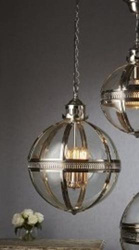 Saxon Pendant Light Nickel Med 45cm