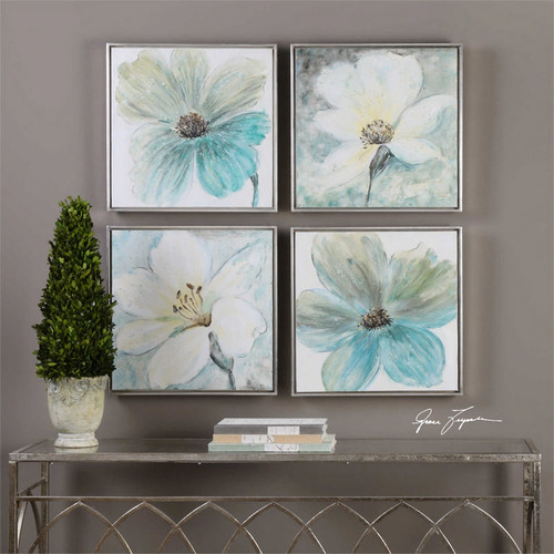 Florals In Cream and Teal Set/4 - Hand Painted Artwork
