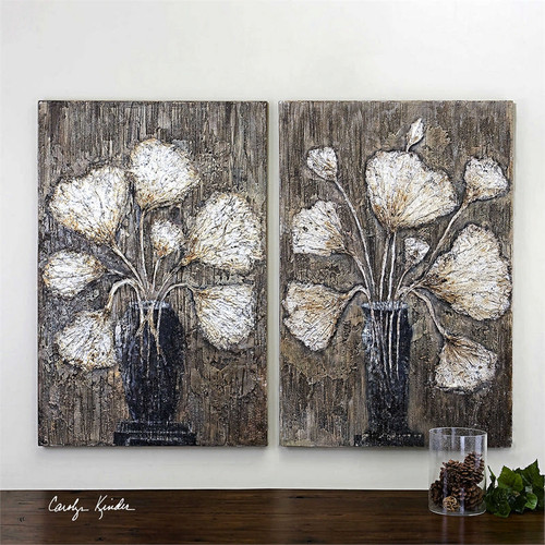 Clear Water Stems Set/2 - Hand Painted Artwork