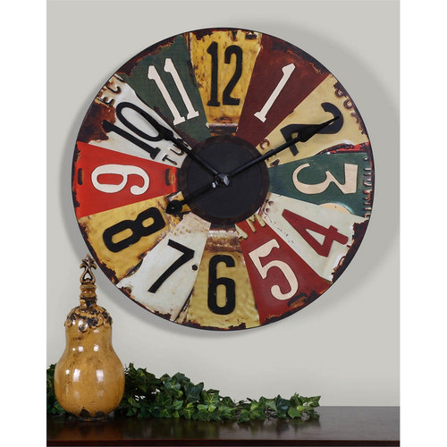 Vintage License Plates Wall Clock by Uttermost
