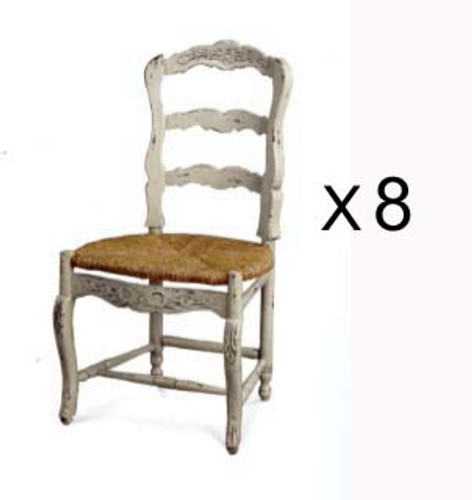 Farmhouse Dining Chair w/ Carving - White Light Distressed Set of 8