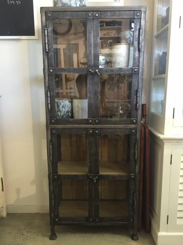 Urban Narrow Display Cabinet - Midnight Iron, Vintage Birch