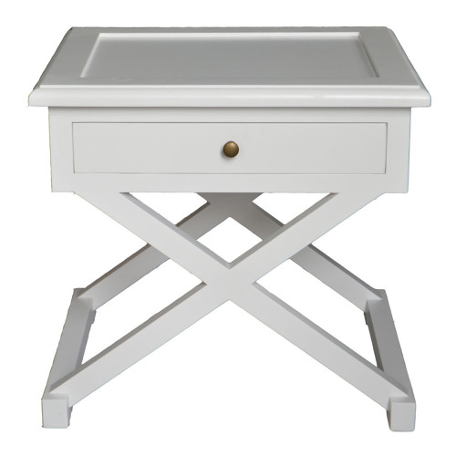Xavier Side Table - Hamptons Matt White