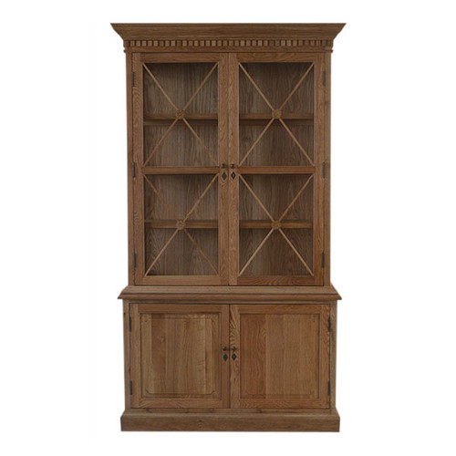 French Cross 2 Door Sideboard & Hutch - Natural Oak - 125W x 45D x 220H