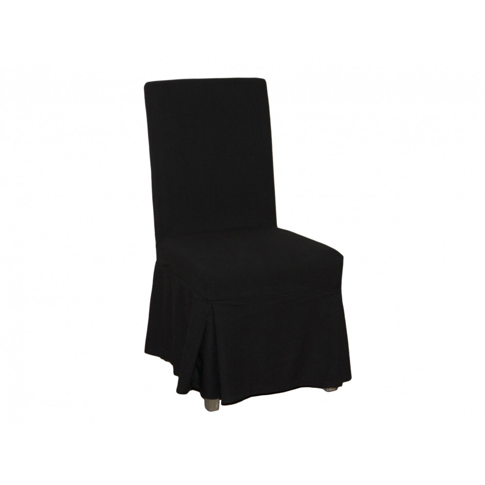 Linen Chair Cover dining chair cover loose - black linen - maison living