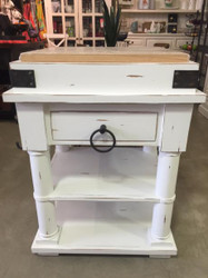 Cortland Kitchen Island on Coasters - Architectural White Heavy Distressed /RAW