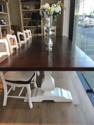 Provincial Trestle Dining Table 3m - White light distress base, Teak brown top