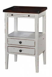Eton 2 Drawer Side Table w/ Pull-out Shelf - Size: 69H x 43W x 33D (cm)