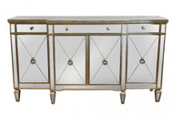 Antique Mirrored 4 Door Buffet - Size: 97H x 178W x 51D (cm)