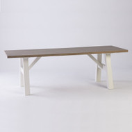 Bella House Geneva Dining Table 240cm - White + French Oak Top