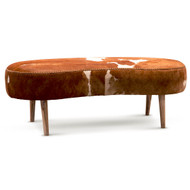 Cowhide Ottoman - Brown and White