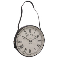 Strap clock with black frame, black strap, white face and black clock face accessories