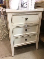 Eton 3 Drawer Side Chest - Pearl White Heavy Distressed