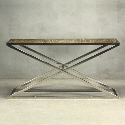 Brooklyn Console Table - Steel/Weathered Elm