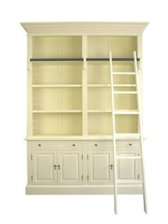 Marseille 4 Door Bookcase + Ladder (A/Cream)