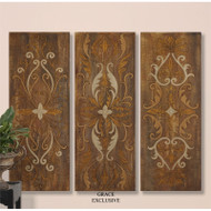 Elegant Swirl Panels Set of 3 a Paintings by Uttermost