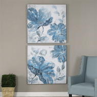 Blue Tone Flowers Set of 2 a Paintings by Uttermost