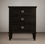 Bordeaux 3 Drawer Bedside - Black Oak Drifted
