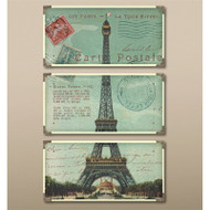 Eiffel Tower Carte Postale Set of 3 a Prints Framed by Uttermost