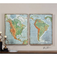 The Americas Set of 2 a Prints Framed by Uttermost