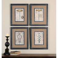 Antique Corkscrews Set of 4 a Prints Framed by Uttermost