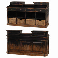 Ashton Service Counter with Rattan Basket - Size: 114H x 203W x 79D (cm)