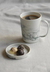 Porcelain Mug Black Marble with Lid