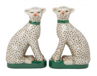 Cheetah Porcelain Bookends