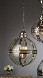 Saxon Pendant Light Nickel Med 45cm