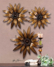 Golden Gazanias Set/3 Wall Decor a Alternative Wall Decor by Uttermost
