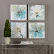 Florals In Cream and Teal Set/4 - Hand Painted Artwork a Paintings by Uttermost