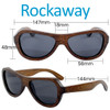 Rockaway Butterfly Brown Bamboo Wood Sunglasses Dimensions Size