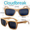 Cloudbreak Square Duwood Wood Sunglasses Dimensions Size