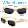 Whitehaven Rectangular Natural Bamboo Wood Sunglasses Dimensions Size