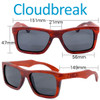 Cloudbreak Square Red Rosewood Wood Sunglasses Dimensions Size