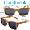 Cloudbreak Square Zebrawood Wood Sunglasses Dimensions Size