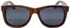 Coronado Wayfarer Style Polarized  Brown Bamboo Wood Frame Sunglasses Straight