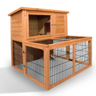 2 Storey Wooden Rabbit Hutch Chicken Coop Guinea Pig Cage with Built-in Run