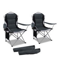 Set of 2 Portable Folding Camping Arm Chair 61cm - Grey