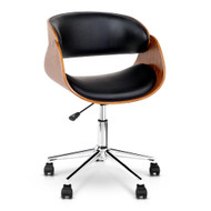 Artiss Wooden & PU Leather Office Desk Chair - Black 01
