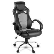 Racing Style PU Leather Office Desk Chair - Grey