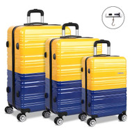 Wanderlite 3 Piece Lightweight Hard Suit Case Luggage Yellow & Purple