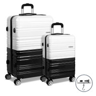 Wanderlite 2 Piece Lightweight Hard Suit Case Luggage Black & White