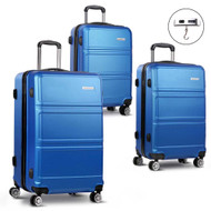 "3pc Luggage Set 20"" 24""& 28"" - Blue"