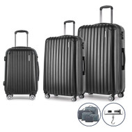 3 Piece Luggage Suitcase Trolley - Black