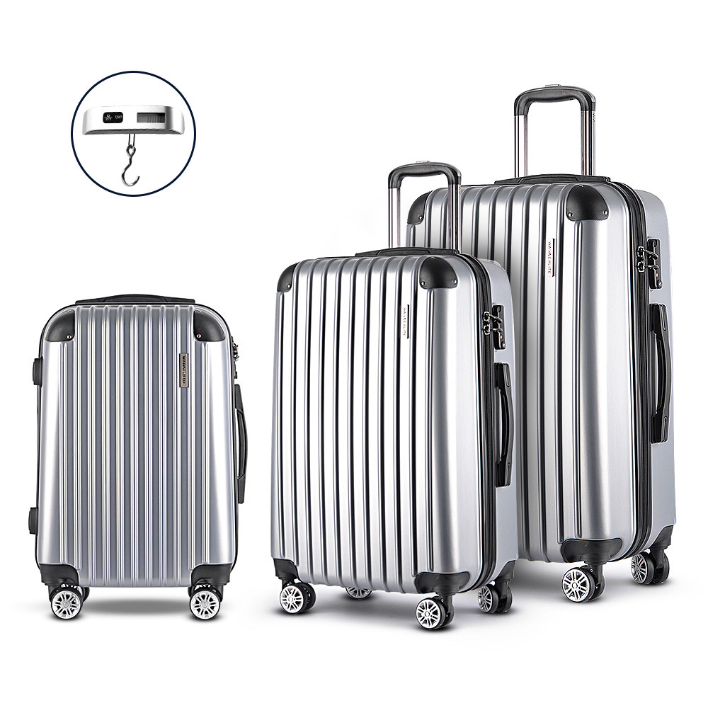 acad4c4ab Wanderlite 3 Piece Lightweight Hard Suit Case Luggage Silver. Your Price:  $136.10 (You save $81.70). Image 1