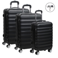 Set of 3 Hard Shell Lightweight Travel Luggage with TSA Lock Black