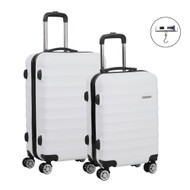 Set of 2 Hard Shell Lightweight Travel Luggage with TSA Lock White