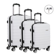 Set of 3 Hard Shell Lightweight Travel Luggage with TSA Lock White