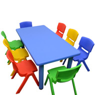 Kids Rectangle Blue Activity Table with 8 Mixed Coloured Chairs Set